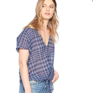 Lucky Brand short sleeve woven plaid tie top Large